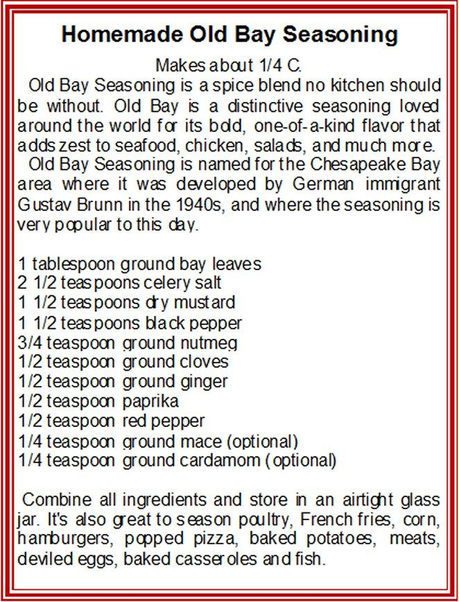 ... Old Bay Seasoning, Old Bay Seasoning Recipe, Recipes Mixes, Homemade