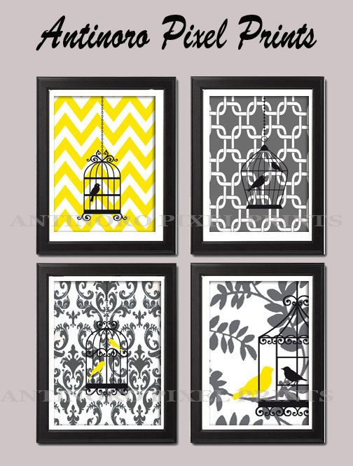 bird art yellow grey vintage modern bird art prints collection set of 4 prints unframed this would look good in the bathroom
