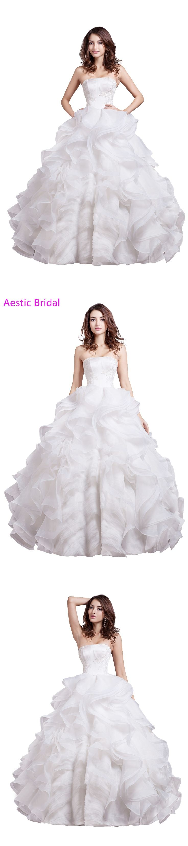 Robe De Mariee Ball Gown White Strapless Organza Wedding Dress With Ruffles Vestido Noiva