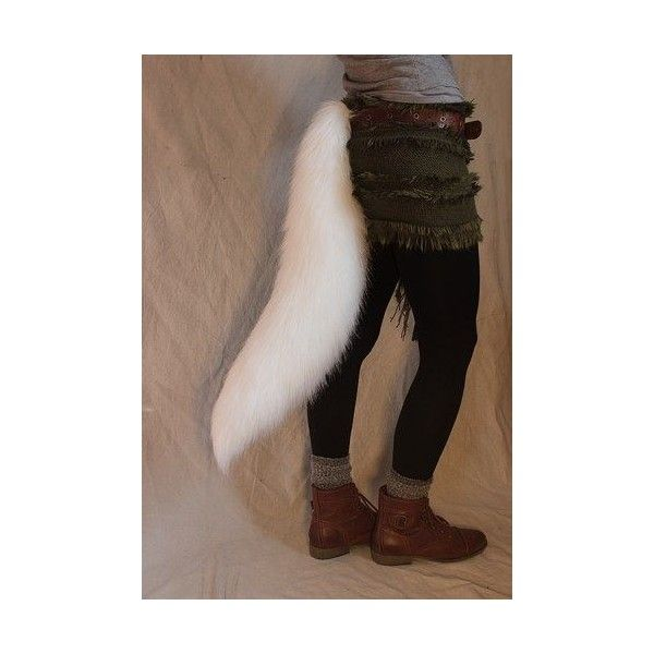CUSTOMIZABLE White wolf/fox realistic faux fur costume tail ❤ liked on Polyvore featuring costumes, white costume, wolf costume, wolf halloween costume, fox costume and fox tail costume