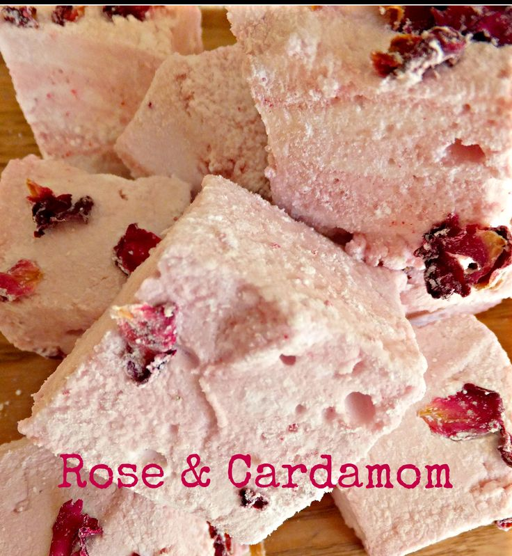 Rose & Cardamom marshmallows, made  with freshly ground cardamom and organic rose water, handmade in Ireland by Mallow Mia. This flavour is already one of our favourites.