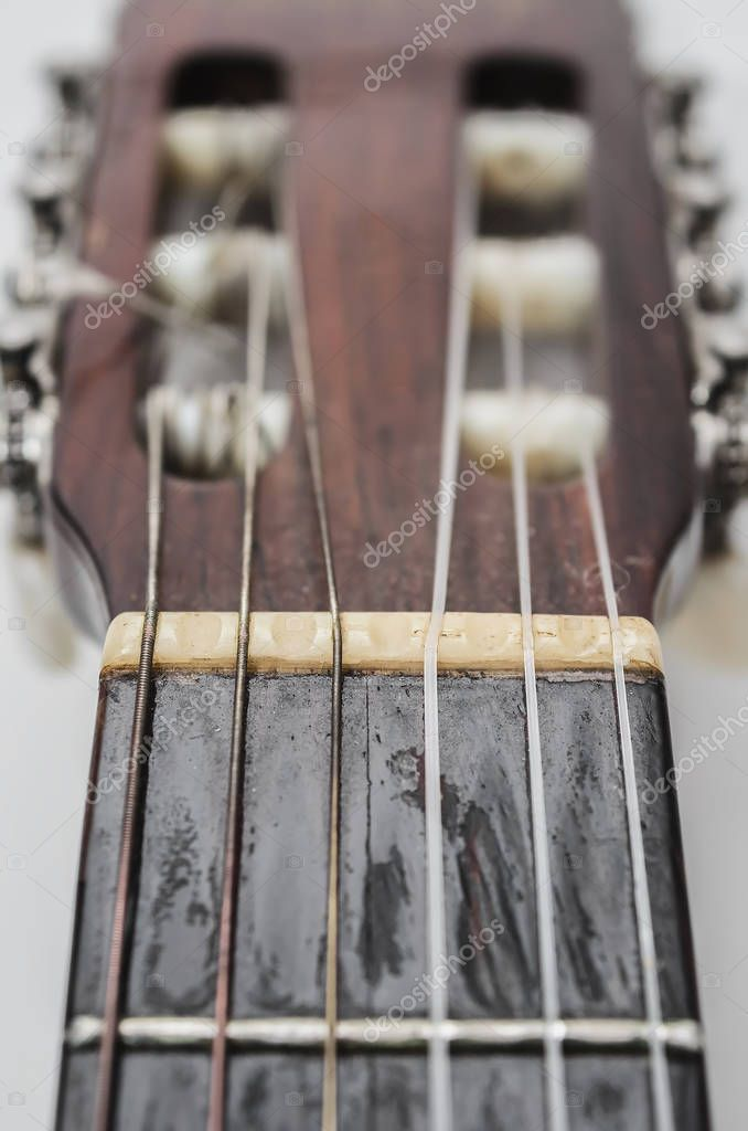 Nut And Strings Of A Acoustic Guitar Headstock Stock Photo Affiliate Acoustic Strings Nut Guitar Ad Acoustic Guitar Acoustic Guitar