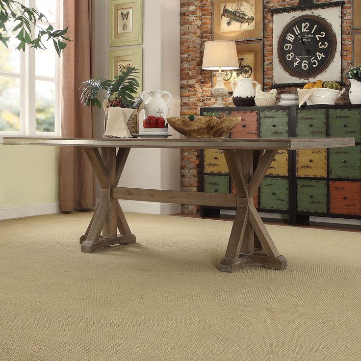 abbott rustic stainless steel strap oak trestle dining table by inspire q artisan - Kitchen Dining Tables