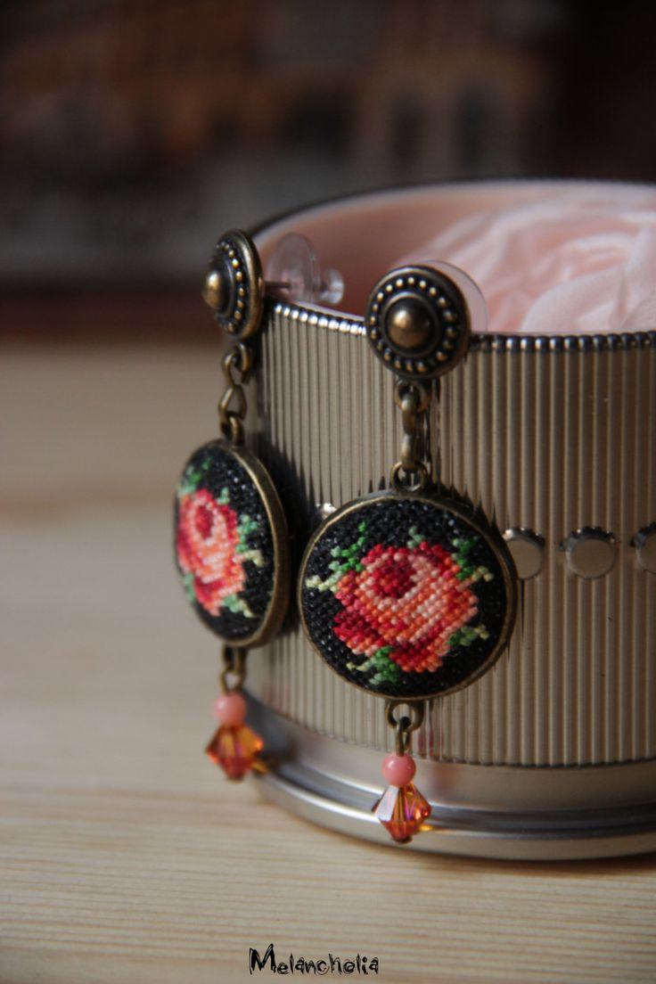 Lovely folk style stud earrings with unique hand embroidered pale peach roses on dark background, coral and Swarovski beads.  Length 6 cm  There is also a bracelet from this flower colllection in my shop https://www.etsy.com/listing/252463448/micro-embroidered-floral-vintage   ! This listing is only for earrings