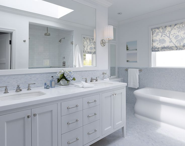White Double Bathroom Vanity, Blue Mosaic Tiles Backsplash