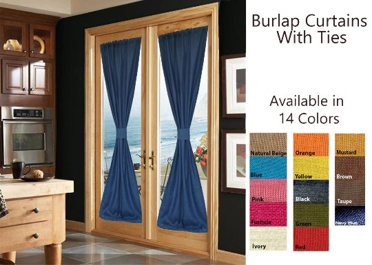 Custom French Door Burlap Curtains With Ties Burlap Drapes With Ties Window Treatment