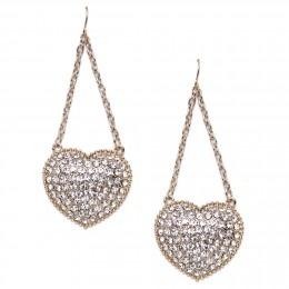 Pave Heart Earrings - Crystal