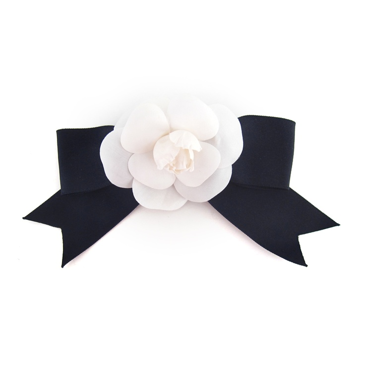 White Camellia Flower with Black Bow Pin by Chanel