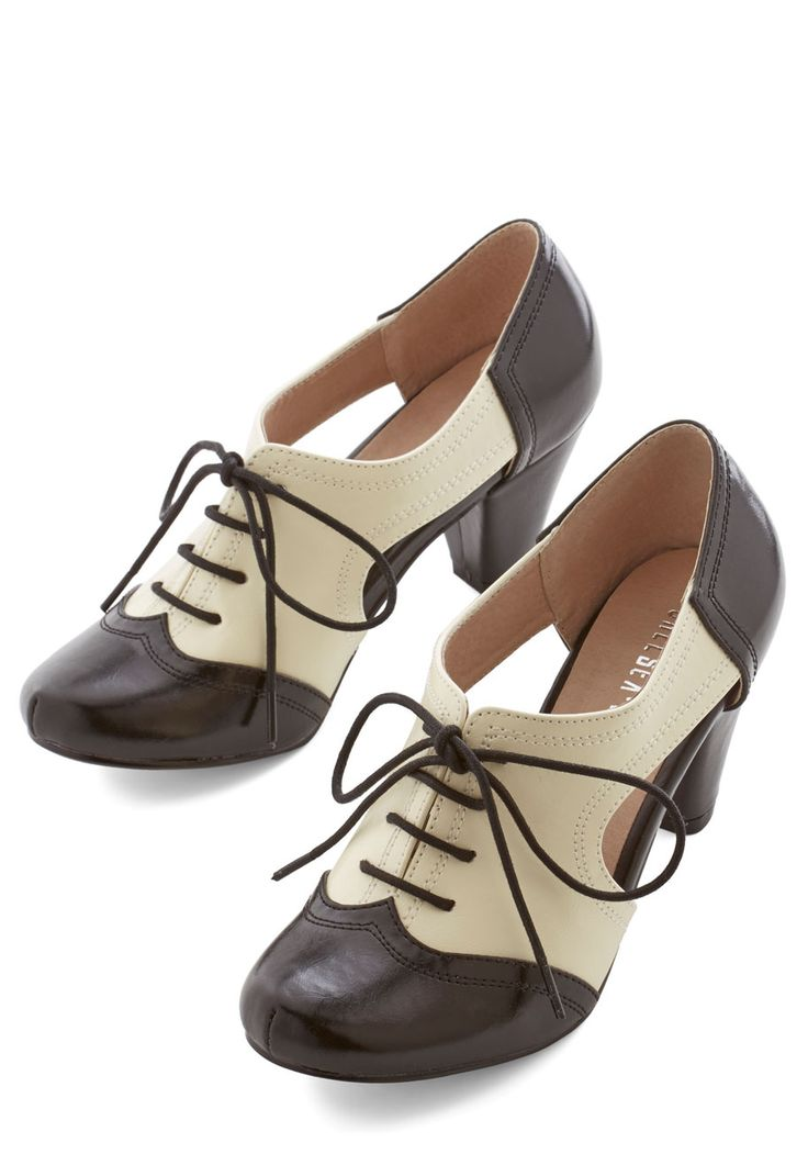 Cheerful Steam Ahead Heels by Chelsea Crew - Mid, Faux Leather, White, Solid, Cutout, Party, Menswear Inspired, Vintage Inspired, 20s, Better, Lace Up, Black, 30s