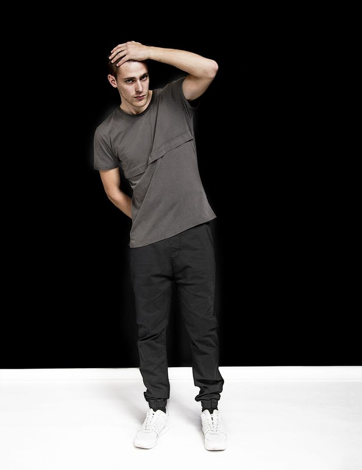 RVLT - men's fashion. Garment dyed cotton tee with horizontal pleat.