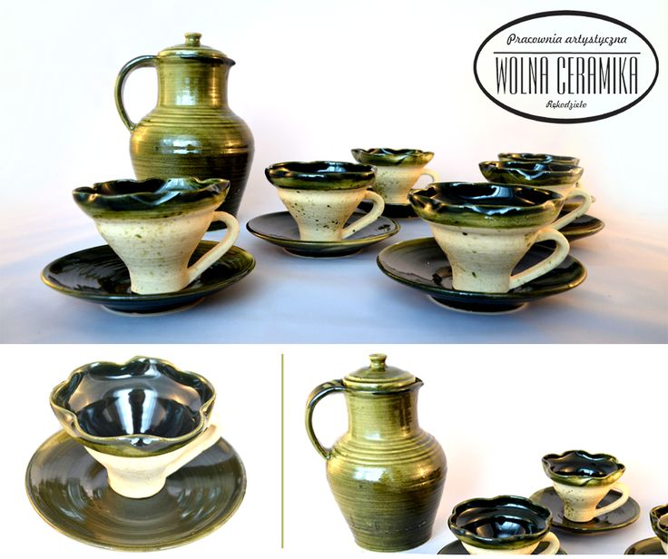 Medieval set of flower 'teacups' - France, XV; medieval jug - Poland, XV.
