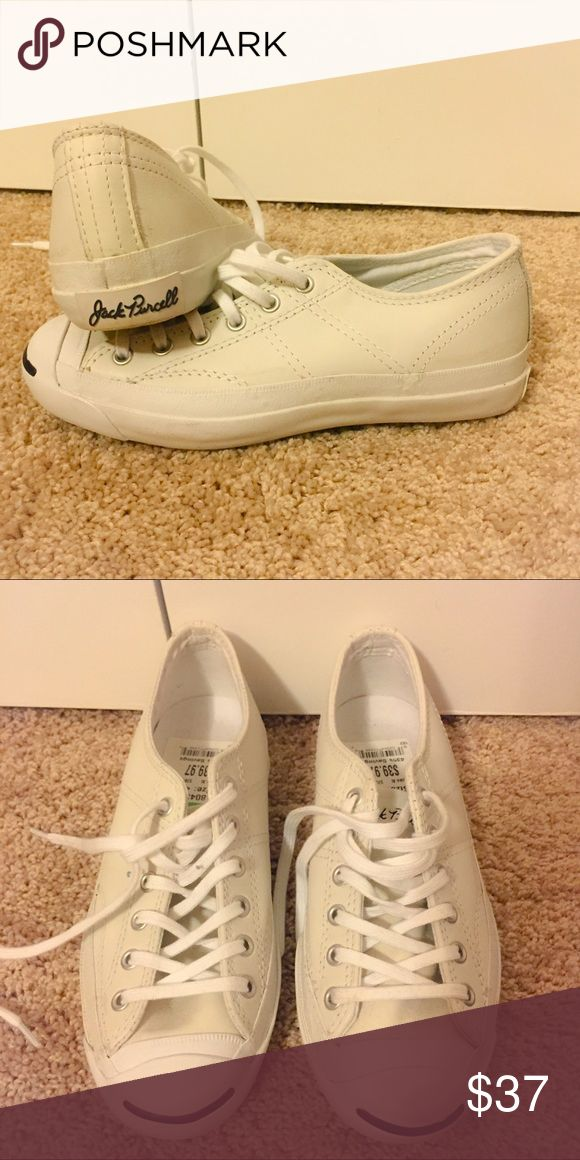 White Jack Purcell low top sneakers Converse Jack Purcell low top white sneakers with stitching on the sides. Still has tag on the inside. Worn once. I believe it says size 4, but fits 5.5 or a small 6 Jack Purcell Shoes Sneakers
