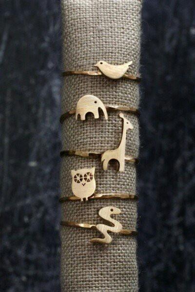 #Bird #elephant #giraffe #owl #snake #rings