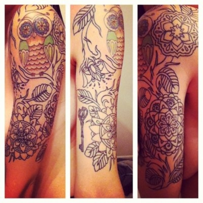 Mandala flowers and vines added to an owl and a skeleton key that I already had.