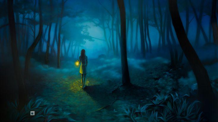 Таинственный лес #airbrushing #airbrush #aerography #wall #girl #forest #night