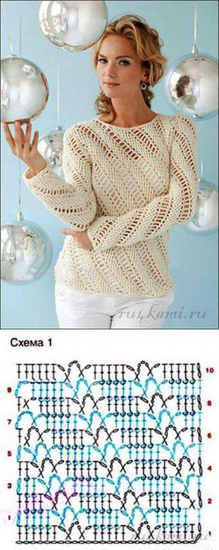 "Пуловер крючком » Сайт ""Ручками"" - делаем вещи своими руками [] # # #Crochet #Jumper, # #Crochet #Tops, # #Crochet #Clothes, # #Posts, # #Stripes, # #Lace, # #Stitches, # #Knitting, # #Patterns"