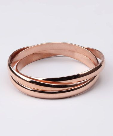 Rose Gold Bangle Set by Romantic Elegance: Rose Gold Jewelry