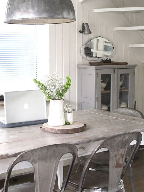 scandinavian interior, industrial details, dining table + chairs + lighting...love the tabletop