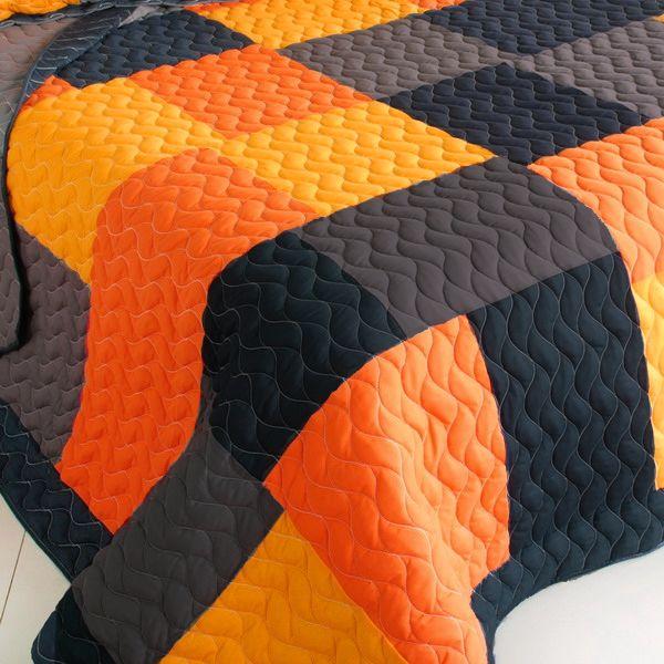 Black Orange Patchwork Teen Boy Bedding Full/Queen Quilt ...