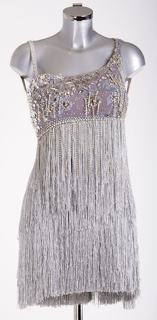 Silver Fringe Latin Dress As worn on Strictly Come Dancing 2013 Designed by Vicky Gill and produced by DSI London