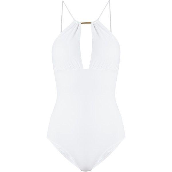 Melissa Odabash Phuket halterneck swimsuit (450 BRL) ❤ liked on Polyvore featuring swimwear, one-piece swimsuits, swimsuit, bikini, bathing suits, swim suits, white, white one piece swimsuit, swim suit cover up and swim cover up