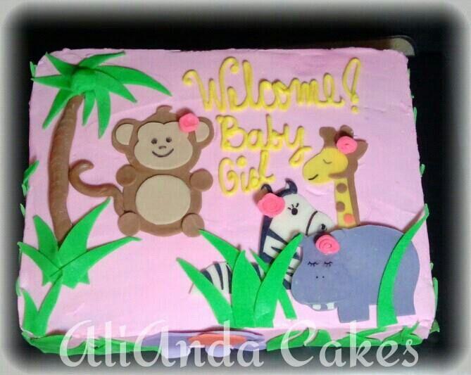 AliAnda Cakes Baby Shower Cake For Girl. Safari Theme.