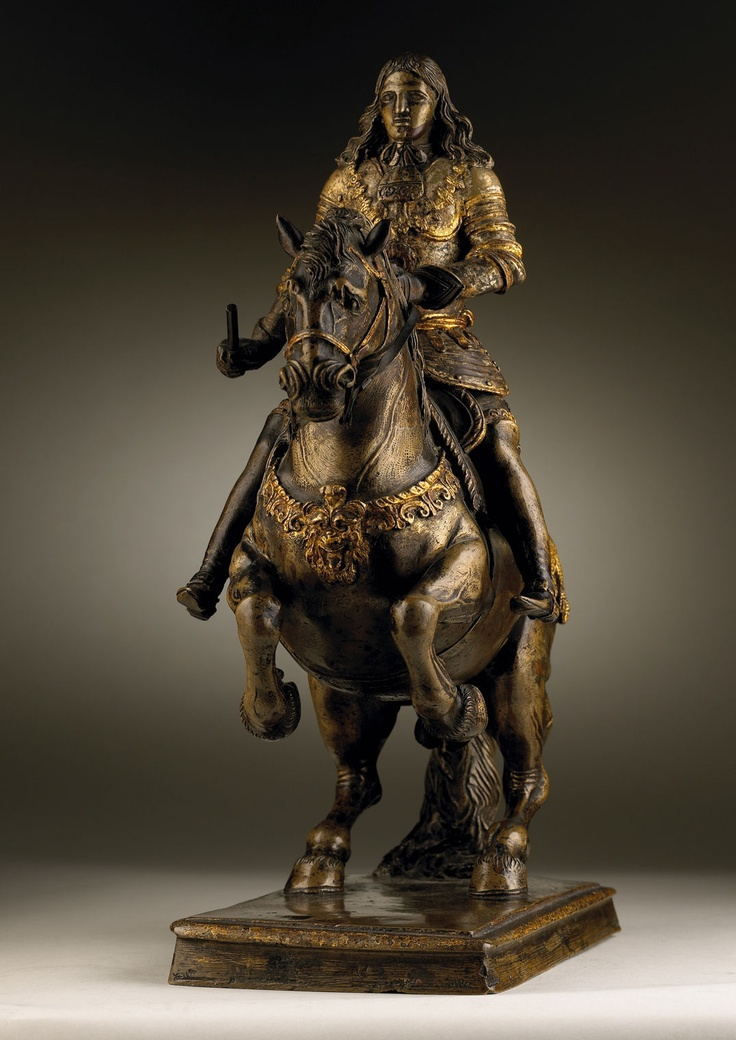*Giacomo Serpotta (1656-1732)  A Bronze Parcel-gilt and Silvered Equestrian Statue of King Carlos II of Spain and the two Sicilies;Cast by Andrea and Gaspare Romano (active 1630-1680);Height: 34 cm.