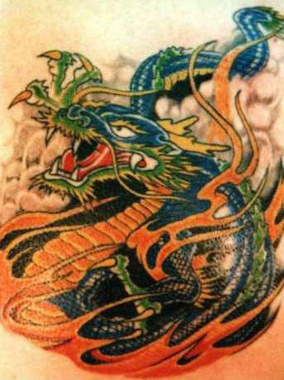breathtaking chinese dragon tattoos flames blue color skin red colored ...