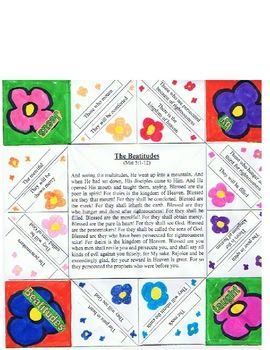 This is a craft and game all in one!Teach your child or student the beatitudes through this fun origami game!