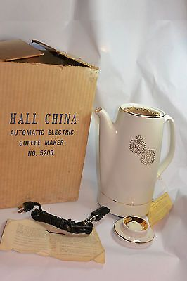 VINTAGE HALL CHINA CO AUTOMATIC ELECTRIC COFFEE MAKER! NEW IN BOX/APOTHECARY SYM