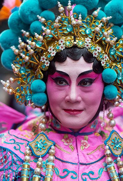 Chinese New Year: A traditional dancer in London's Chinese New Year parade