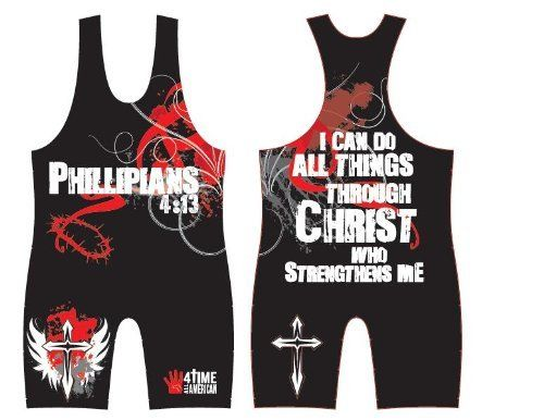 Philippians 4:13 Red/Black Wrestling Singlet, by 4-Time, size S by 4-Time All American. $69.97. Wrestling singlet by 4-Time All American Wrestling. Made to the specifications of 4-Time All American wrestler Dustin Center.  We guarantee you'll love the quality. Kids' come in different shapes and sizes, so it's O.K. to exchange to get the right fit. Our goal is to have really happy, repeat customers who tell the other wrestling parents they can buy here with co...