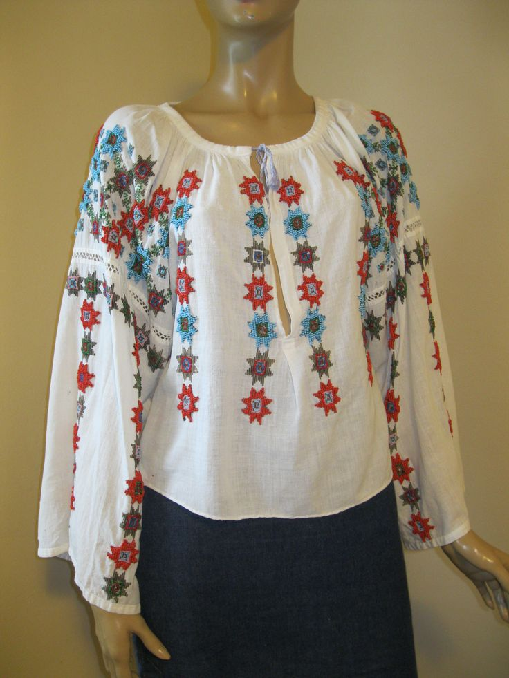 Vintage red - blue beads hand embroidered Romanian blouse / size M at www.greatblouses.com