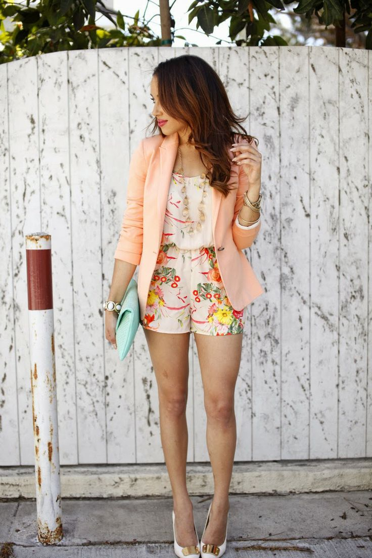 Pink Passion: a peach blazer with some nude pumps