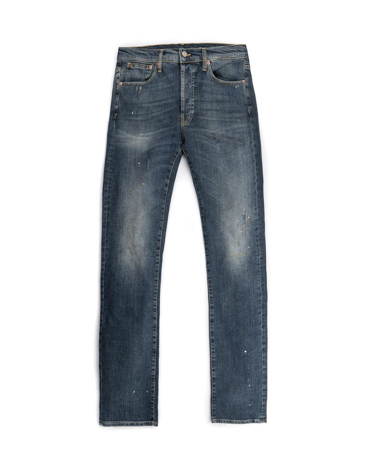 WILSHIRE BLUE KV2310-2 - Jeans uomo vintage di colore blu, skinny fit, con macchie di colore handmade, Made in Italy. #tradingcompany #losangeles #weareartisans #leather #handmade