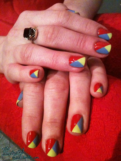 Love the angles: Primary Colors, Colors Combos, Nails Art, Back To Schools Easy Nails, Nails Design, Colors Nails, Illustrations Nails, Colorblock Nails, Amazing Nails