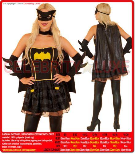 New-Ladies-Super-Hero-Bat-Woman-Batgirl-Fancy-Dress-Costume-Superhero-Cape-Mask