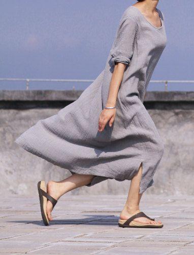 Gray Dress linen women dress Gray long dress by fashiondress6, $85.00