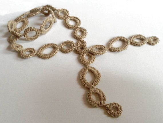 Jute Necklace Jute Scarf  Natural fiber jewerly Rustic by Spondeo, $10.00