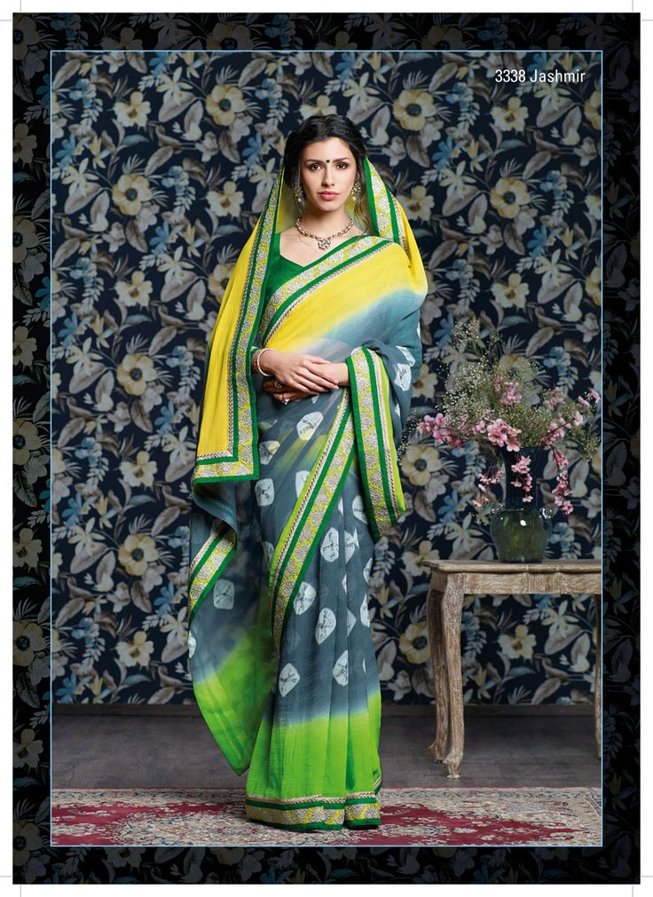 Shibori printed chiffon saree with its perfect yellow, gray & green color combination , And Impressive jari work lace.