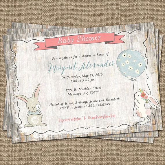 Bunny Baby Shower Invitation, Rustic, Shabby Chic ,digital, Printable File