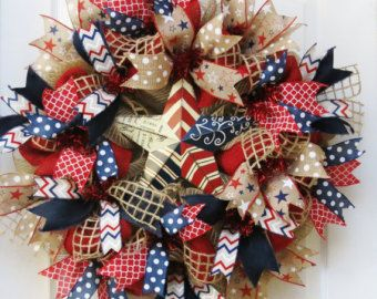Patriotic Wreath 4th of July Wreath Burlap by PinkBluebonnet