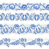 Blau Blumen floral russische Porzellan schöne folk Ornament. — Stockvektor