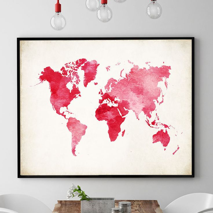 World Map Wall Art, Pink Watercolour World Map Print, Travel World Map Decor, World Map Poster, Nursery Art, Home Decor Wall Art (728) by PointDot on Etsy