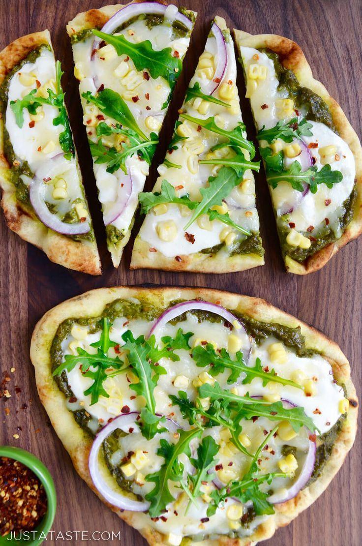 Grilled Flatbread Pizzas with Avocado Pesto | recipe via http://justataste.com #pizza #recipe