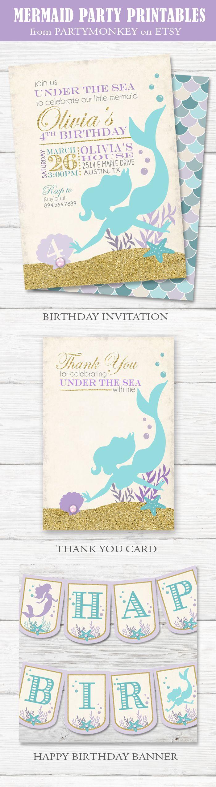Best 25 Mermaid birthday invites ideas – Mermaid Party Invitations Printable