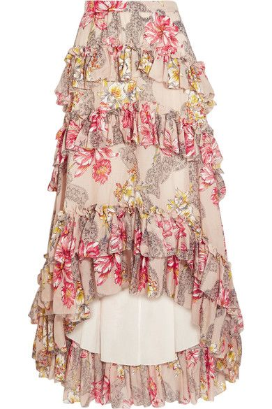 Philosophy di Lorenzo Serafini's Spring '17 collection is inspired by romance adventure film The Blue Lagoon - the designer called the show 'Castaway Romance' - and the '80s. Finished with a graduated hem, this cotton and silk-blend maxi skirt is printed with red, yellow and white flowers and detailed with ruffles. Pair it with the matching top, as worn by Poppy Delevingne in the latest issue of PORTER magazine.