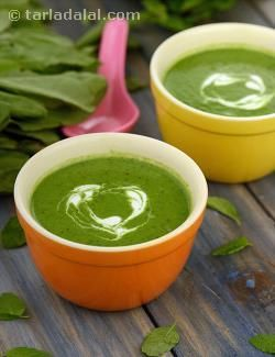 Soup, with a lovely taste and consistency. This soup is brimful of the goodness of spinach and spring onion greens, not to forget a dash of coriander and mint. The nutmeg and black pepper not only spike up the flavour, they also bring in their healing properties—making this a true herbal delight.