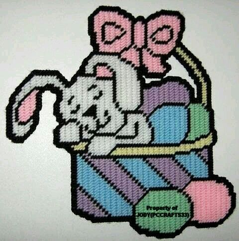 SLEEPING BUNNY IN EASTER EGG BASKET by JODY -- WALL HANGING 1/2