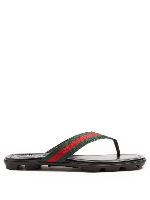 GUCCI Titan Web-Striped Flip-Flops. #gucci #shoes #sandals